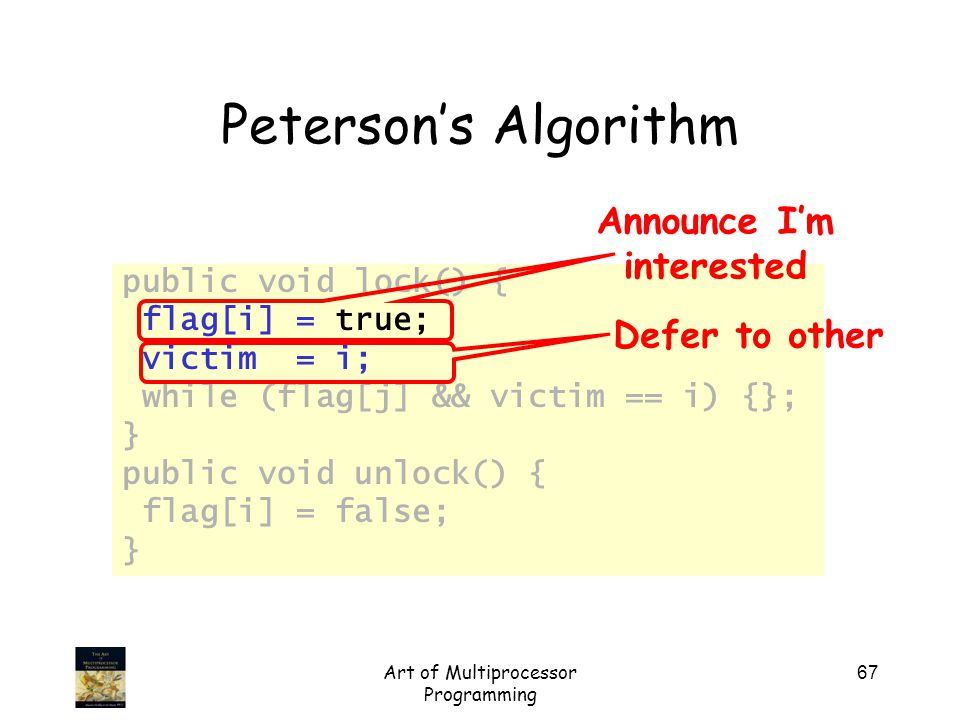Art of Multiprocessor Programming 67 Peterson's Algorithm public void lock() { flag[i] = true; victim = i; while (flag[j] && victim == i) {}; } public void unlock() { flag[i] = false; } Announce I'm interested Defer to other