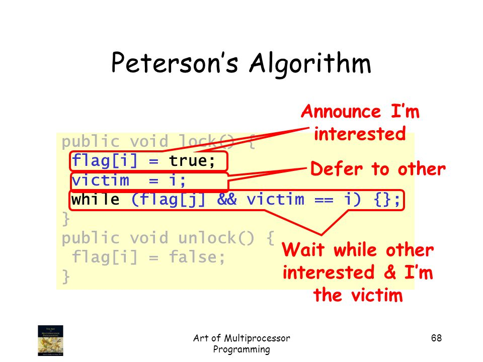 Art of Multiprocessor Programming 68 Peterson's Algorithm public void lock() { flag[i] = true; victim = i; while (flag[j] && victim == i) {}; } public void unlock() { flag[i] = false; } Announce I'm interested Defer to other Wait while other interested & I'm the victim