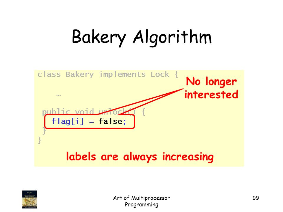Art of Multiprocessor Programming 99 Bakery Algorithm class Bakery implements Lock { … public void unlock() { flag[i] = false; } No longer interested labels are always increasing