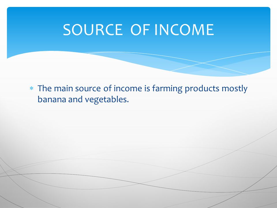  The main source of income is farming products mostly banana and vegetables. SOURCE OF INCOME
