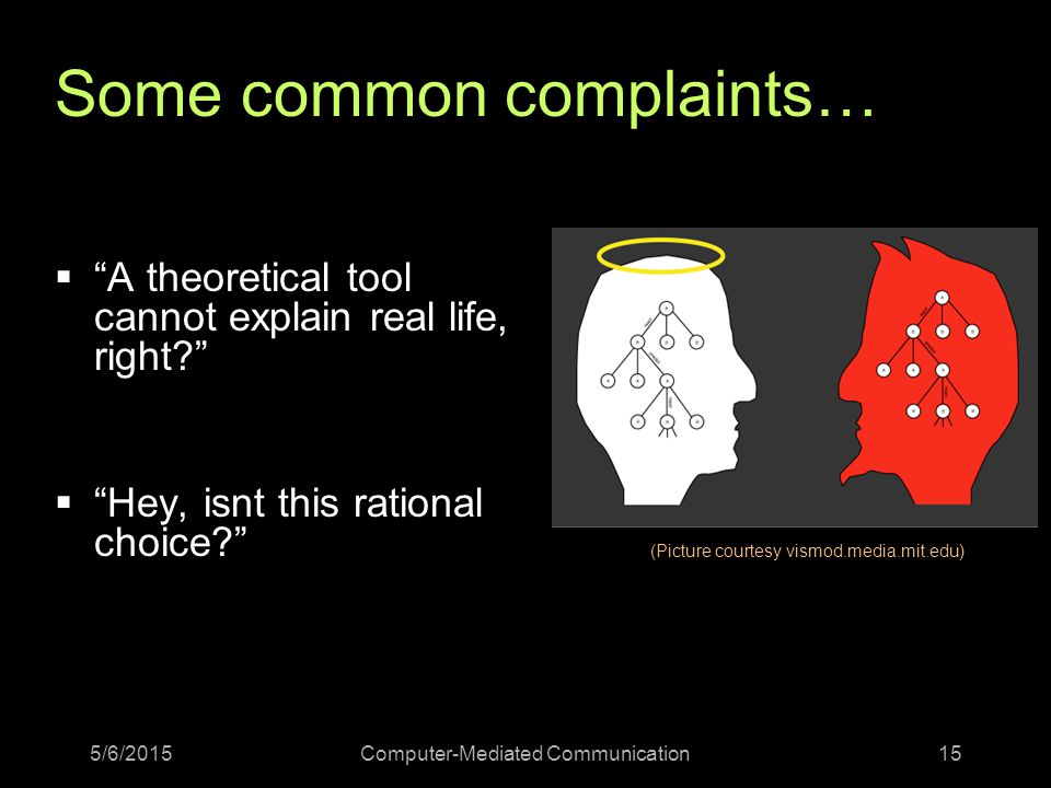 5/6/2015Computer-Mediated Communication15 Some common complaints…  A theoretical tool cannot explain real life, right  Hey, isnt this rational choice (Picture courtesy vismod.media.mit.edu)