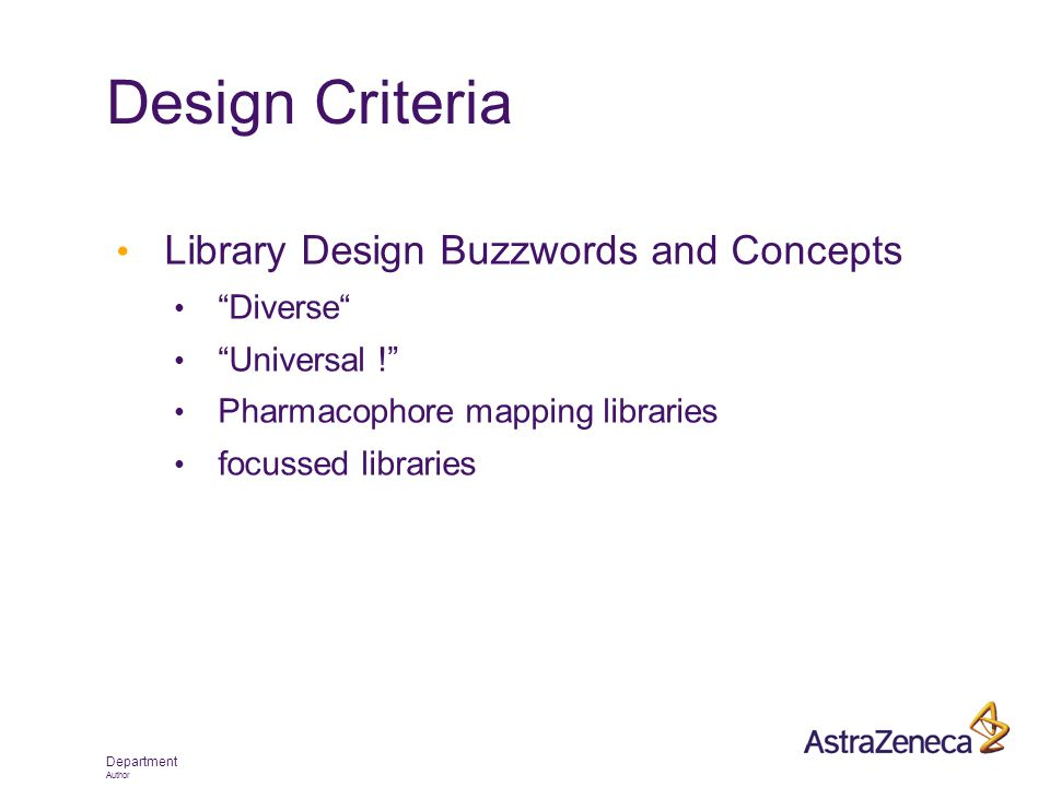 "Department Author Design Criteria Library Design Buzzwords and Concepts ""Diverse"" ""Universal !"" Pharmacophore mapping libraries focussed libraries"