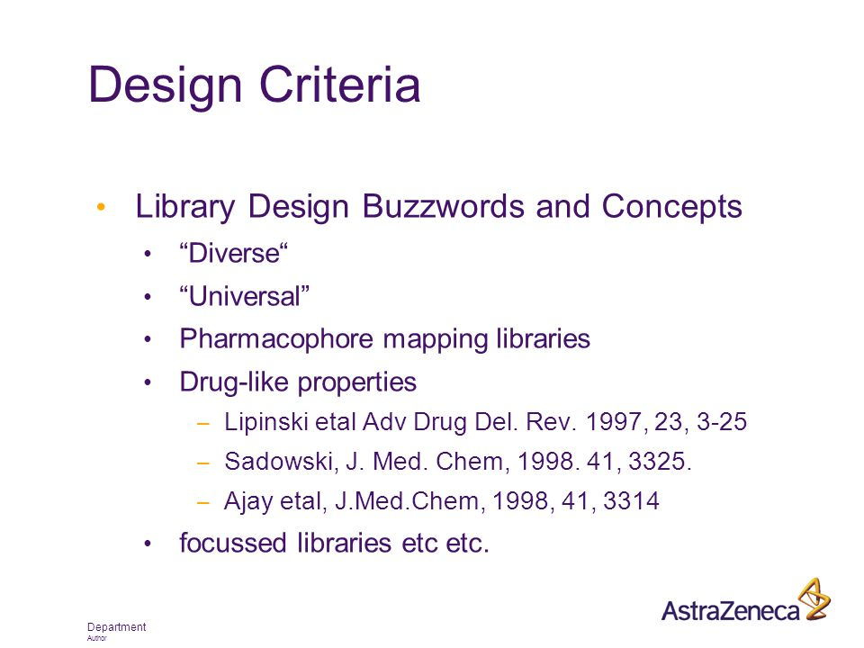"Department Author Design Criteria Library Design Buzzwords and Concepts ""Diverse"" ""Universal"" Pharmacophore mapping libraries Drug-like properties – L"
