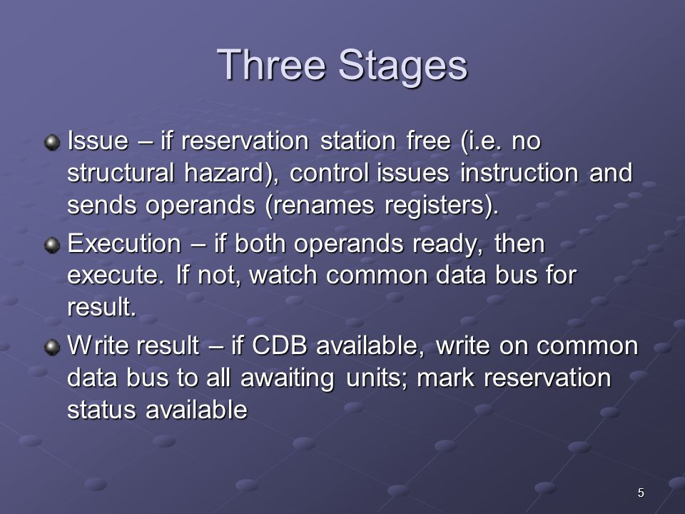 5 Three Stages Issue – if reservation station free (i.e.