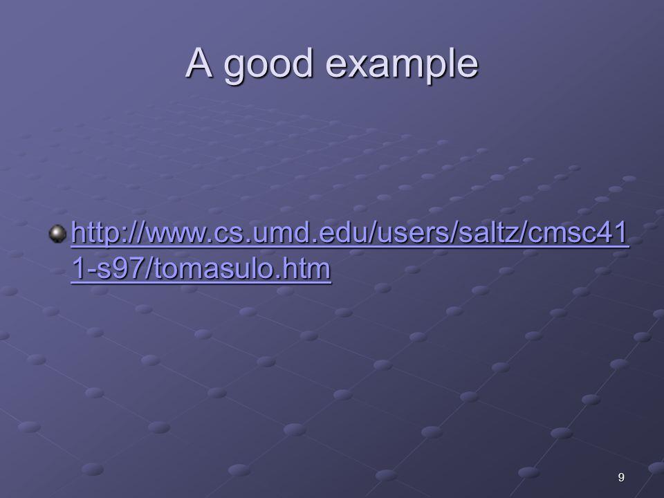 9 A good example http://www.cs.umd.edu/users/saltz/cmsc41 1-s97/tomasulo.htm http://www.cs.umd.edu/users/saltz/cmsc41 1-s97/tomasulo.htm