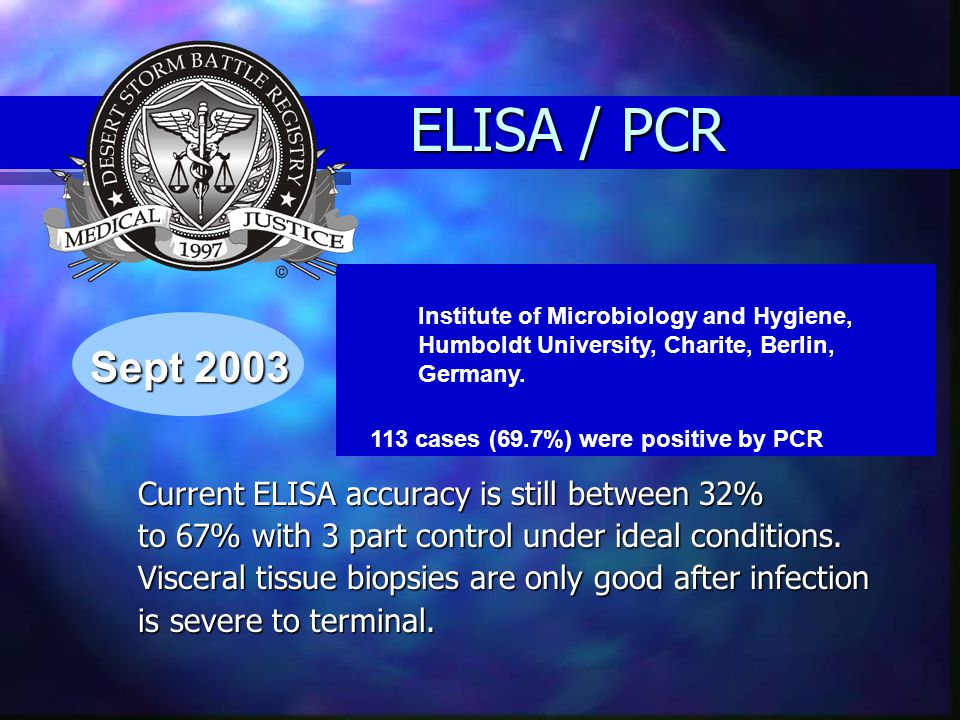 ELISA / PCR Current ELISA accuracy is still between 32% to 67% with 3 part control under ideal conditions. Visceral tissue biopsies are only good afte