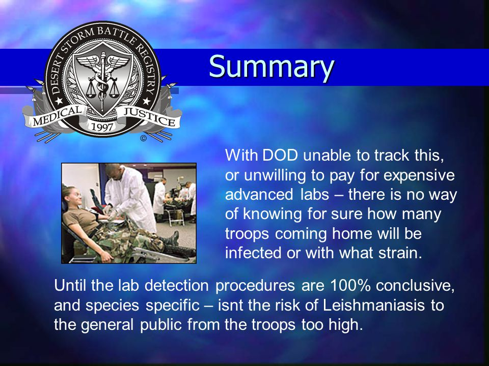 Summary With DOD unable to track this, or unwilling to pay for expensive advanced labs – there is no way of knowing for sure how many troops coming ho