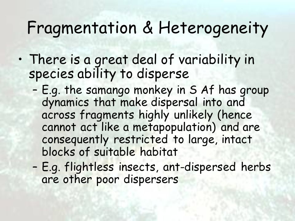 Fragmentation & Heterogeneity There is a great deal of variability in species ability to disperse –E.g.