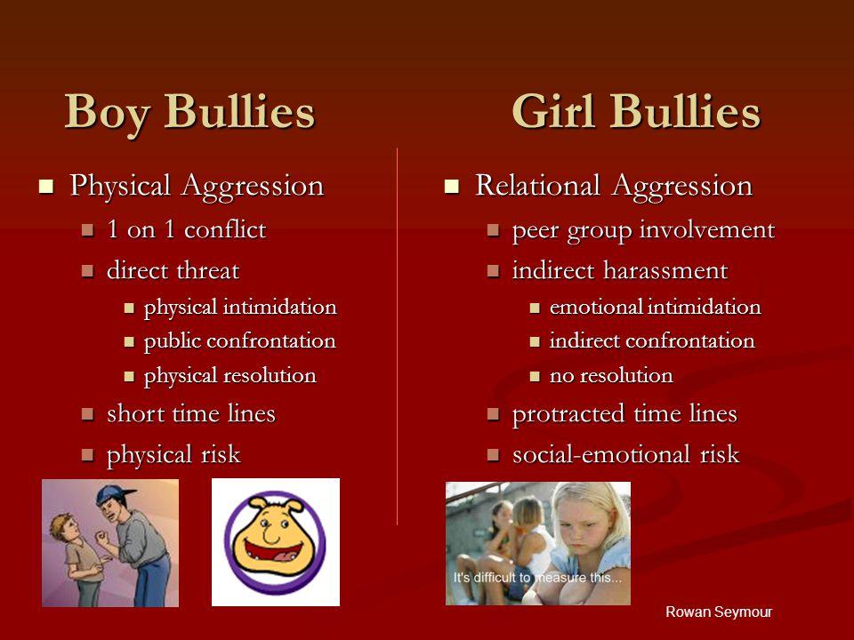 Rowan Seymour Boy Bullies Girl Bullies Relational Aggression peer group involvement indirect harassment emotional intimidation indirect confrontation