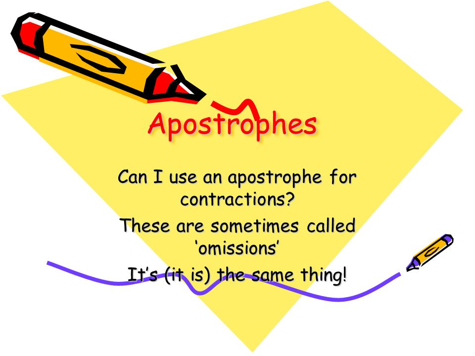 ApostrophesApostrophes Can I use an apostrophe for contractions.