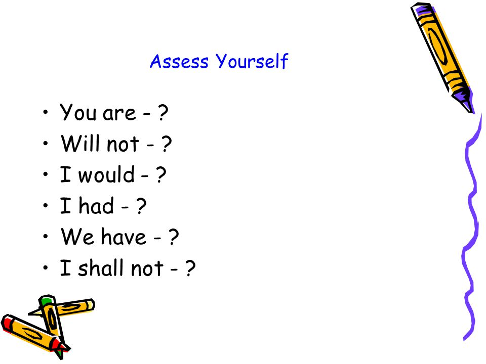 Assess Yourself You are - Will not - I would - I had - We have - I shall not -