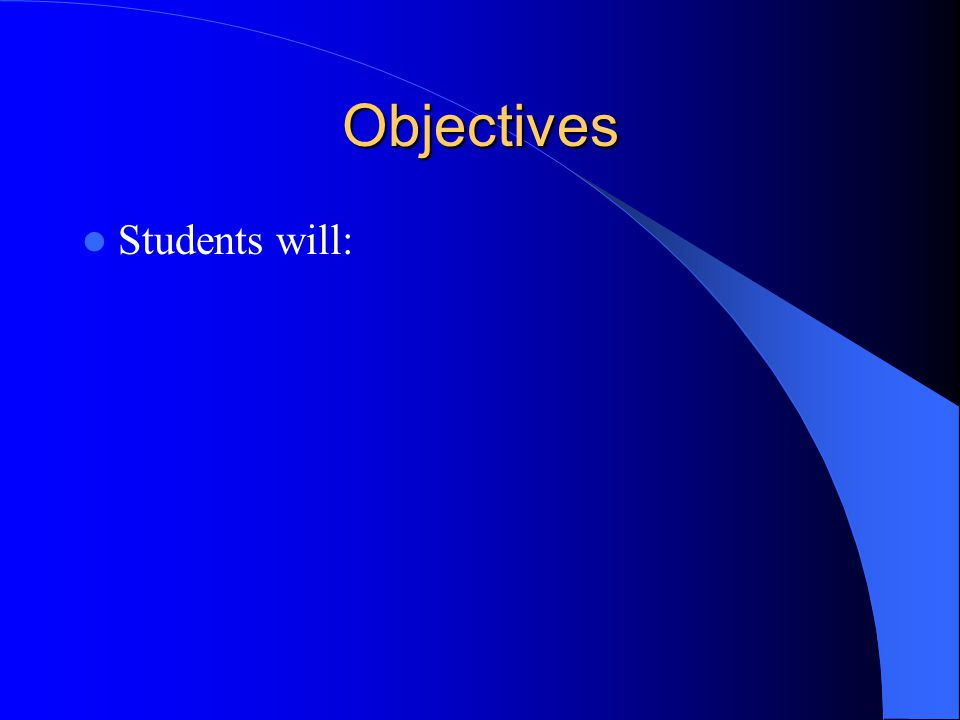 Objectives Students will: