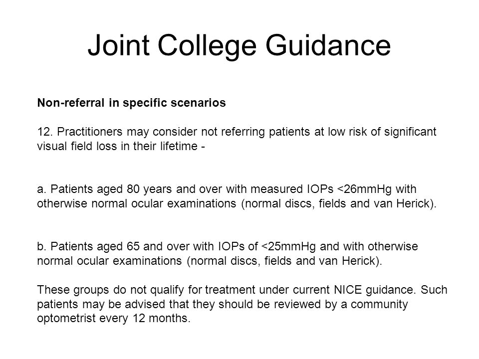 Joint College Guidance Non-referral in specific scenarios 12.