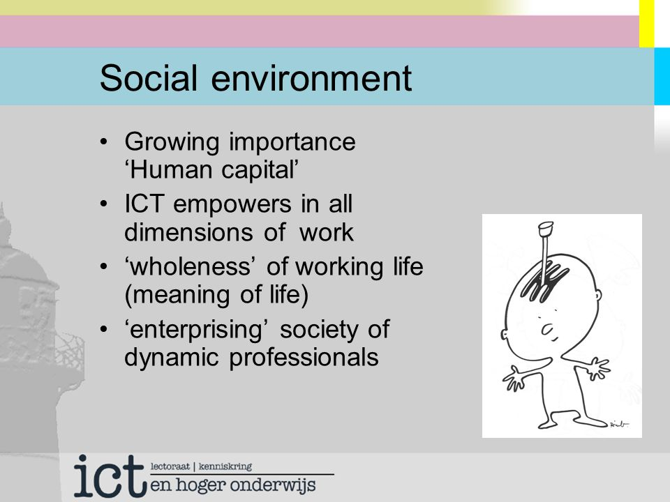 Social environment Growing importance 'Human capital' ICT empowers in all dimensions of work 'wholeness' of working life (meaning of life) 'enterprising' society of dynamic professionals
