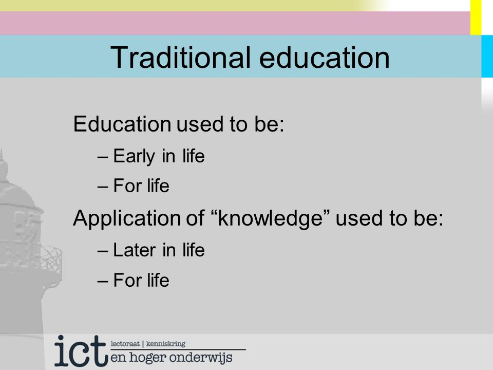 Lifelong Learning Education is becoming: –Lifelong: Learning = Working = Living –Just in Time, Just Fit, flexible in time and place Application of knowledge is becoming: –Immediate: Working = Learning = Living –For now (not for life)
