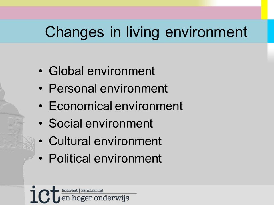 Changes in living environment Global environment Personal environment Economical environment Social environment Cultural environment Political environment