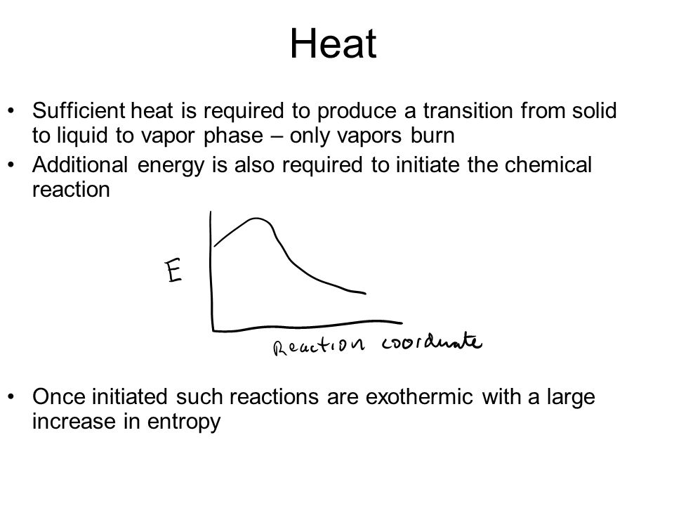 Heat Sufficient heat is required to produce a transition from solid to liquid to vapor phase – only vapors burn Additional energy is also required to initiate the chemical reaction Once initiated such reactions are exothermic with a large increase in entropy