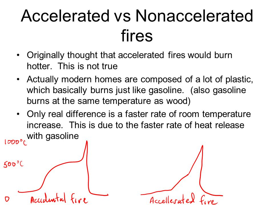 Accelerated vs Nonaccelerated fires Originally thought that accelerated fires would burn hotter.