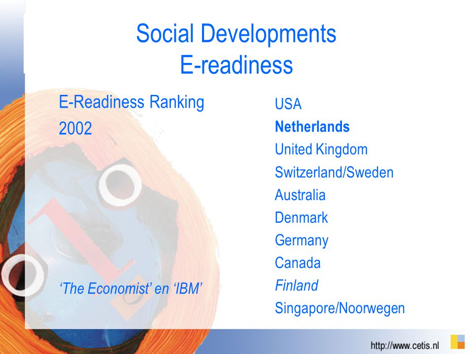 Social Developments E-readiness E-Readiness Ranking 2002 'The Economist' en 'IBM' USA Netherlands United Kingdom Switzerland/Sweden Australia Denmark Germany Canada Finland Singapore/Noorwegen