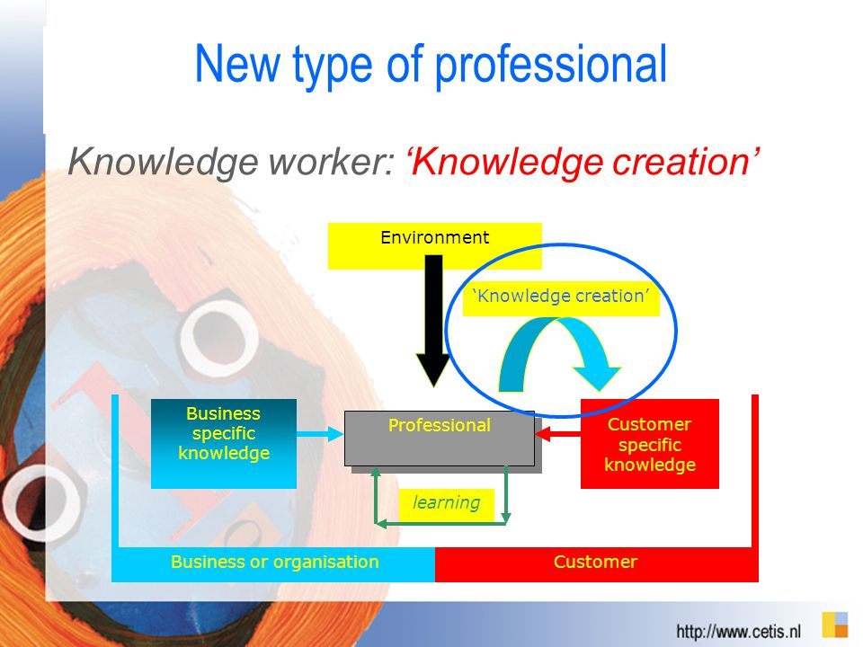 New type of professional Business or organisationCustomer Professional learning Business specific knowledge Customer specific knowledge 'Knowledge creation' Environment Knowledge worker: 'Knowledge creation'