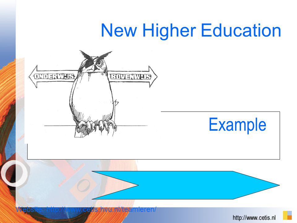 Example New Higher Education Website: http://www.cetis.hvu.nl/teamleren/