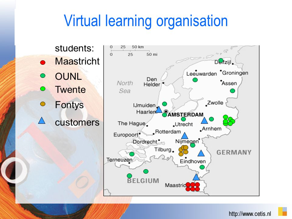 Belgium Germany Den Haag Fontys Twente OUNL Maastricht students: customers Virtual learning organisation