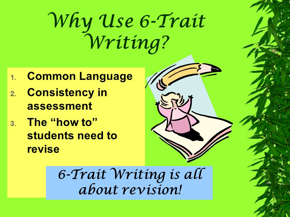 Why Use 6 Trait Writing? Good assesssment starts with a vision of success. Rick Stiggins Student-Centered Classroom Assessment