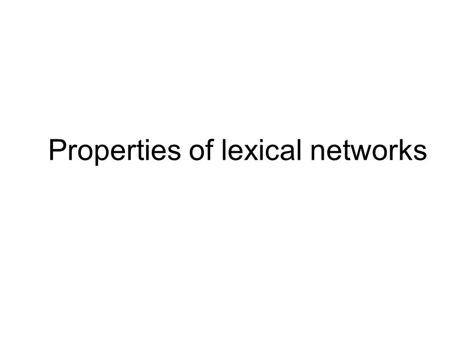 Properties of lexical networks