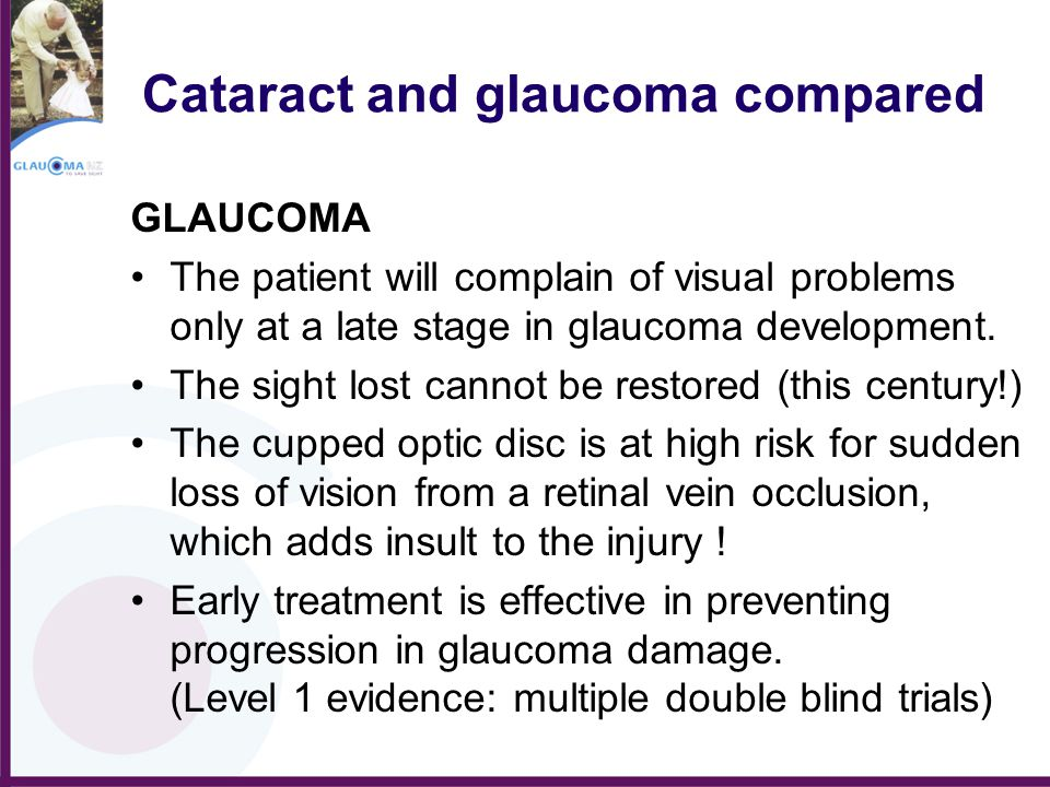 Cataract and glaucoma compared GLAUCOMA The patient will complain of visual problems only at a late stage in glaucoma development. The sight lost cann