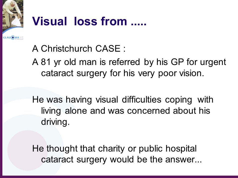 Visual loss from..... A Christchurch CASE : A 81 yr old man is referred by his GP for urgent cataract surgery for his very poor vision. He was having