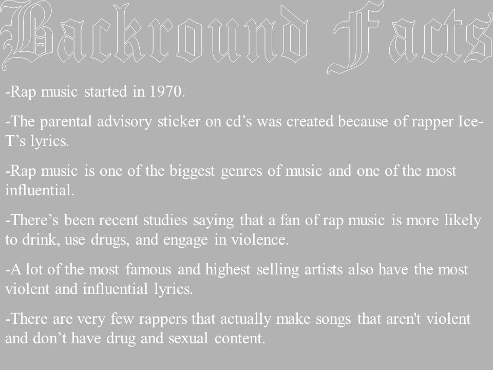 -Rap music started in 1970.