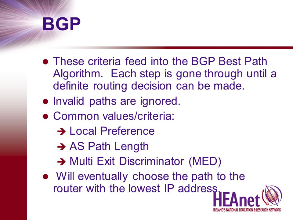 BGP These criteria feed into the BGP Best Path Algorithm.