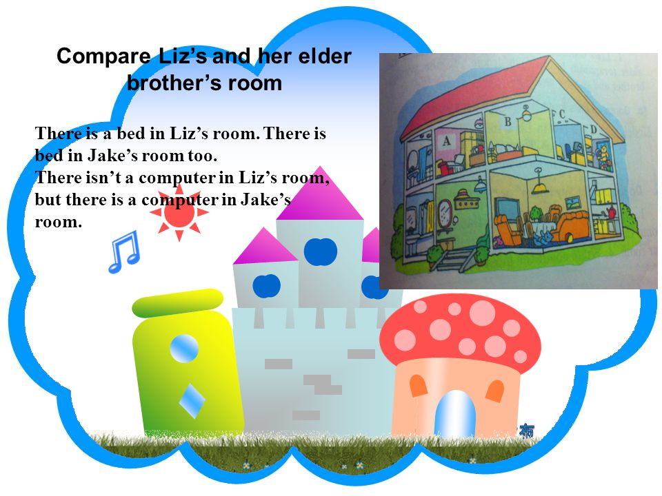 Compare Liz's and her elder brother's room There is a bed in Liz's room.