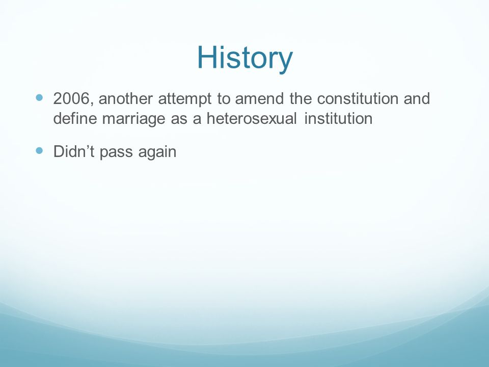 Current Legislation MA, CT, IA, VT, NH, NY, and District of Columbia all issue same sex marriage licenses DE, HI, IL, NJ, RI all allow civil unions CA, NV, OR, WA allow domestic partnerships Whole issue is largely unsettled