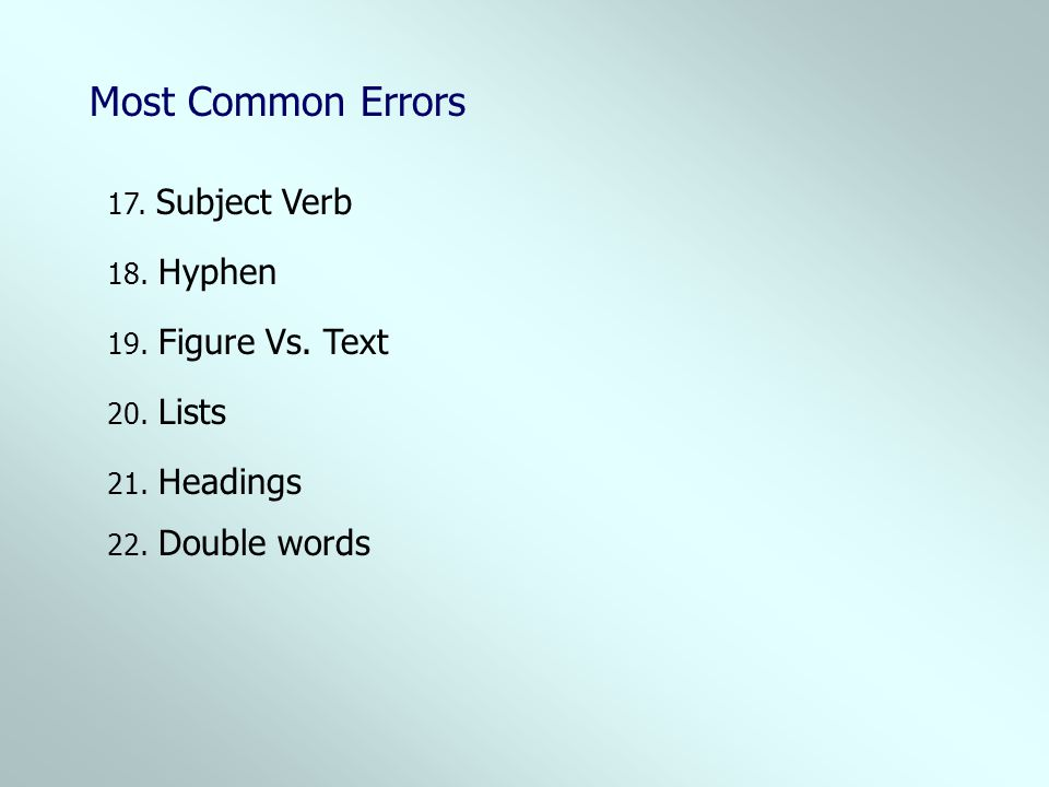 18. Hyphen 17. Subject Verb 19. Figure Vs. Text 20. Lists 21. Headings 22. Double words Most Common Errors
