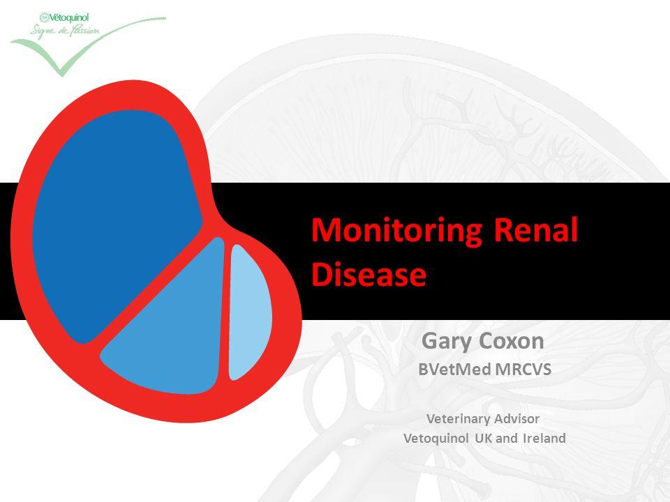 Monitoring Renal Disease Gary Coxon BVetMed MRCVS Veterinary Advisor Vetoquinol UK and Ireland