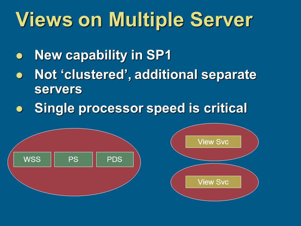 PSPDSWSS Views on Multiple Server New capability in SP1 New capability in SP1 Not 'clustered', additional separate servers Not 'clustered', additional