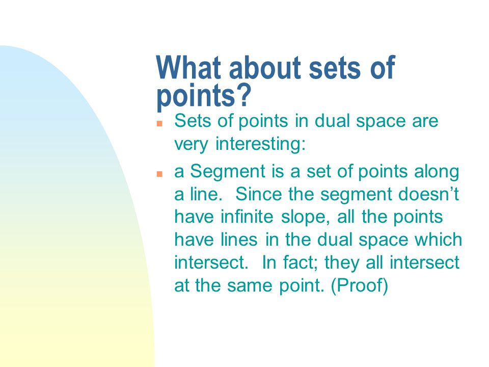 What about sets of points.