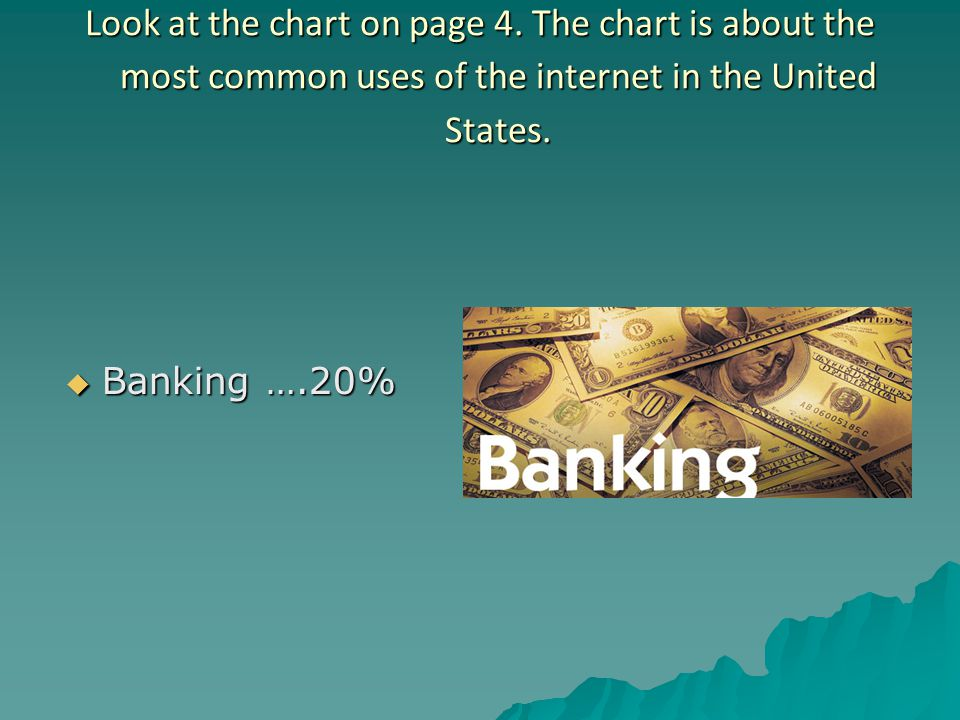 Look at the chart on page 4. The chart is about the most common uses of the internet in the United States.  Banking ….20%
