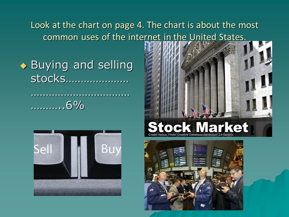 Look at the chart on page 4. The chart is about the most common uses of the internet in the United States.  Buying and selling stocks………………… ……………………