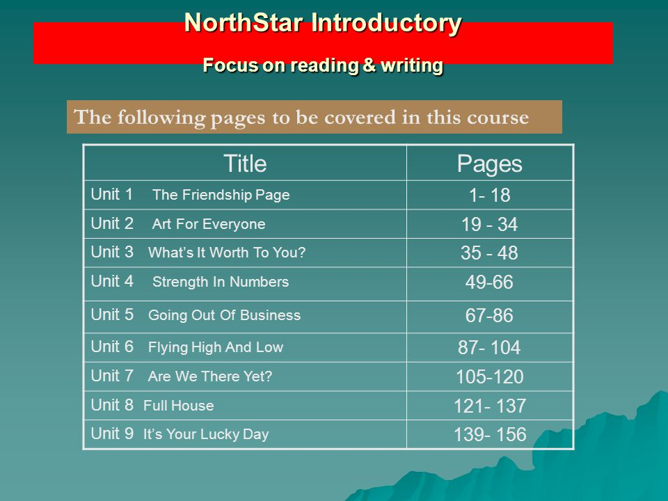 NorthStar Introductory Focus on reading & writing TitlePages Unit 1 The Friendship Page 1- 18 Unit 2 Art For Everyone 19 - 34 Unit 3 What's It Worth T