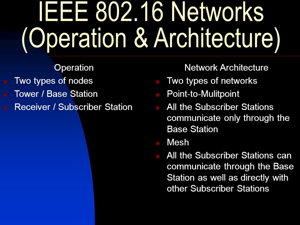 IEEE 802.16 Networks (Operation & Architecture) Operation Two types of nodes Tower / Base Station Receiver / Subscriber Station Network Architecture Two types of networks Point-to-Mulitpoint All the Subscriber Stations communicate only through the Base Station Mesh All the Subscriber Stations can communicate through the Base Station as well as directly with other Subscriber Stations