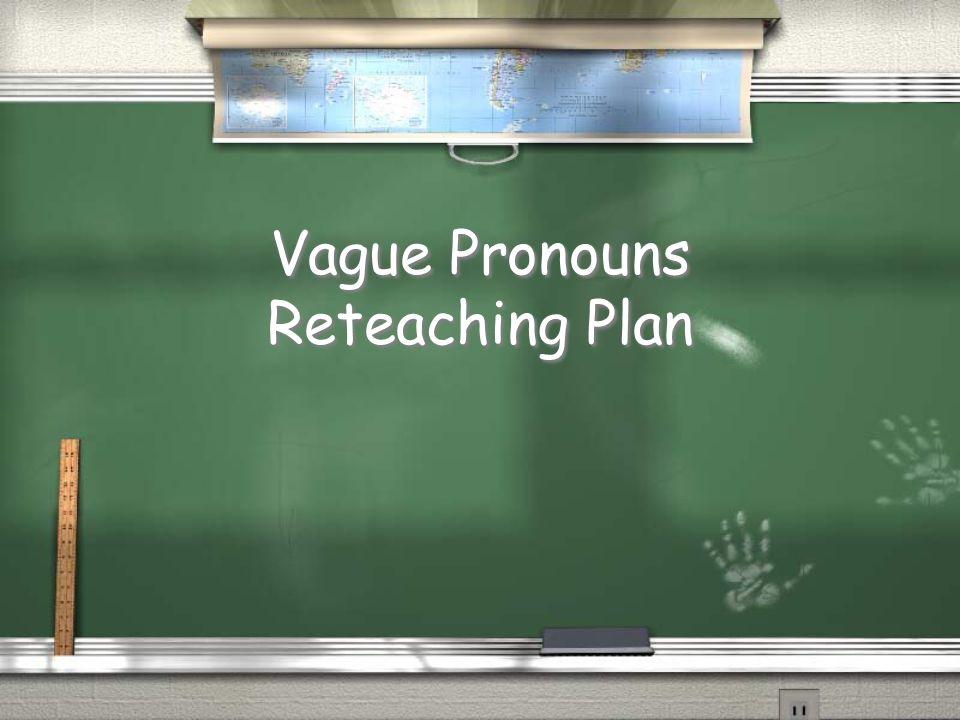 Vague Pronouns Reteaching Plan