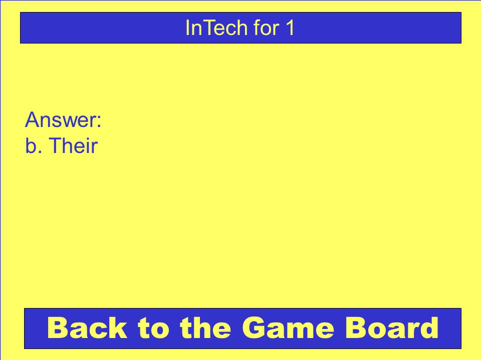 Answer: b. Their Back to the Game Board InTech for 1