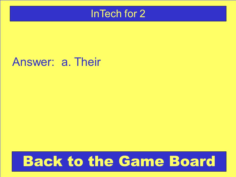 Answer: a. Their Back to the Game Board InTech for 2