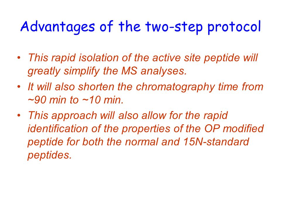 Advantages of the two-step protocol This rapid isolation of the active site peptide will greatly simplify the MS analyses.