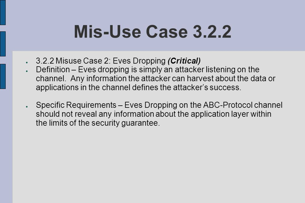 Mis-Use Case 3.2.2 ● 3.2.2 Misuse Case 2: Eves Dropping (Critical) ● Definition – Eves dropping is simply an attacker listening on the channel.