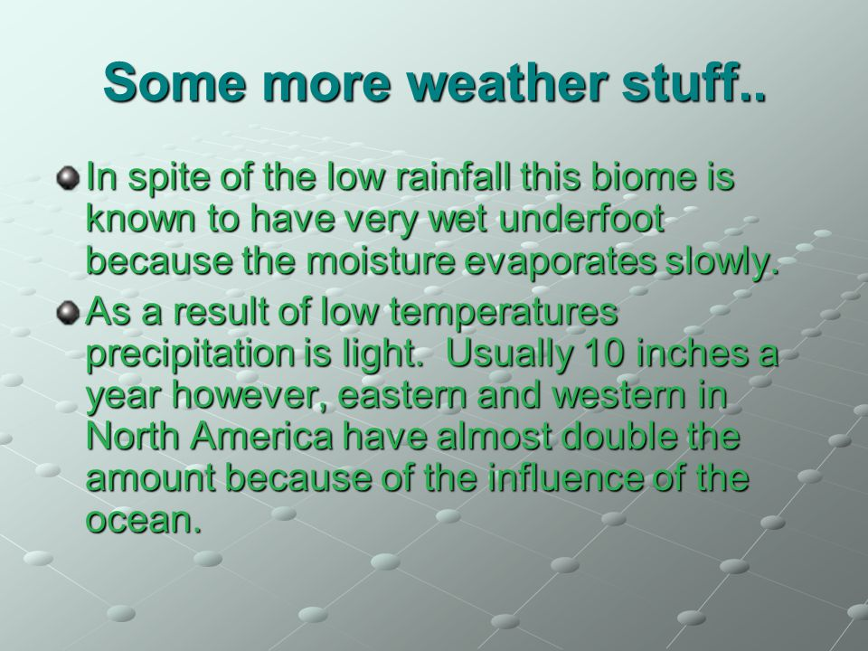 Some more weather stuff.. In spite of the low rainfall this biome is known to have very wet underfoot because the moisture evaporates slowly. As a res