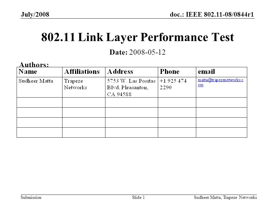 doc.: IEEE 802.11-08/0844r1 Submission July/2008 Sudheer Matta, Trapeze NetworksSlide 1 802.11 Link Layer Performance Test Date: 2008-05-12 Authors: