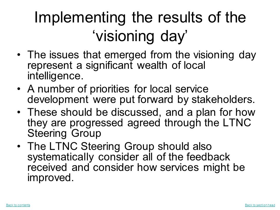 Implementing the results of the 'visioning day' The issues that emerged from the visioning day represent a significant wealth of local intelligence.